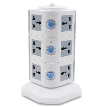 3 Floors Outlet Multi Sockets Universal Power Strip with IndividualSwitches Multi-Sockets Grey