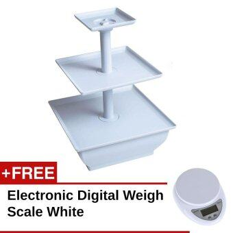 3 Tier Plastic Snack Server Cupcake Tray Dessert Stand Tower FREE Electronic Digital Weigh Scale White