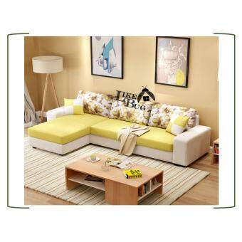 3 YEARS WARRANTY!!!! Living Room (3) Seater Canvas L - Shape Designer Sofa with Stool [LAZZO 868]