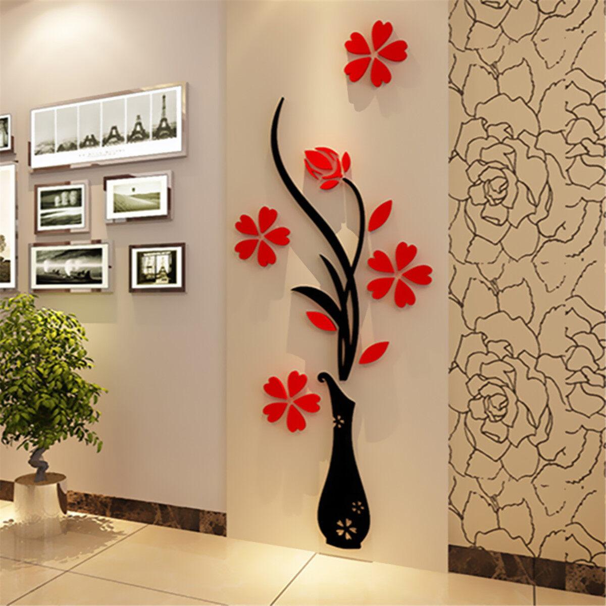 32xx80cm 3D Vase Flower Plum Arcylic Wall Stickers Entrance DIY ...