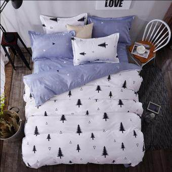4 in 1 Hynix Queen Fitted Bedding Set bed protector home Quilt Cover Polyester Sheet Pillowcase Bedsheet - Style C