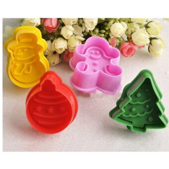 4Pcs Christmas Cookie Biscuit Cutters Set Bread Fondant Cake MoldBaking Tool