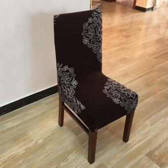 6Pcs Printing flower Spandex Stretch Dining Chair Cover Restaurant For Weddings Banquet Folding Hotel Chair Covering