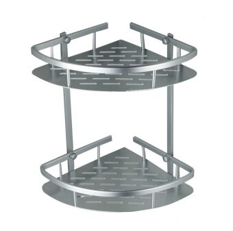 Aluminium 2 Tier Bathroom Corner Storage Holder Shelf Rack