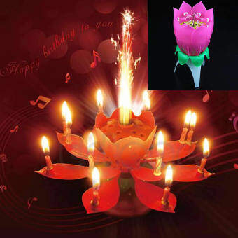 Beautiful Musical Lotus Flower Happy Birthday Party Candle LightsKid Gift - intl