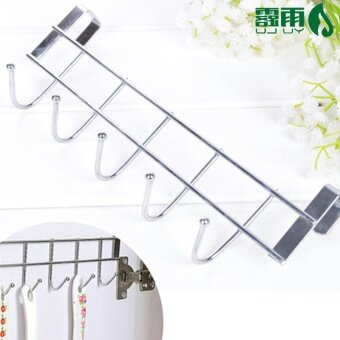 Bold stainless steel 5 hook cabinet door back-hook five even hookdoor after free nail hook coat hooks Hook