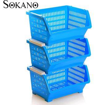 Bundle Set of 3: SOKANO KR001 Stackable and Space Saving Food Safety Storage Bin (Blue)