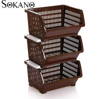 Bundle Set of 3: SOKANO KR001 Stackable and Space Saving Food Safety Storage Bin (Brown)
