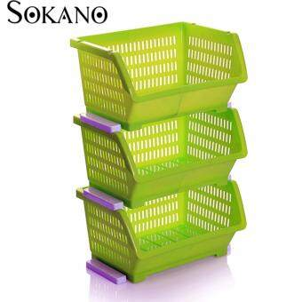 Bundle Set of 3: SOKANO KR001 Stackable and Space Saving Food Safety Storage Bin (Green)