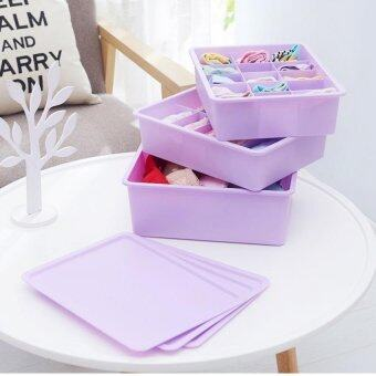 Bundle: SOKANO Set of 3 Hard PVC Organizer Set With Cover and Separator- Purple