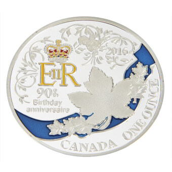 Cocotina 1Pcs New Queen's 90th Birthday Silver Plated CommemorativeCoin Collectible Gift