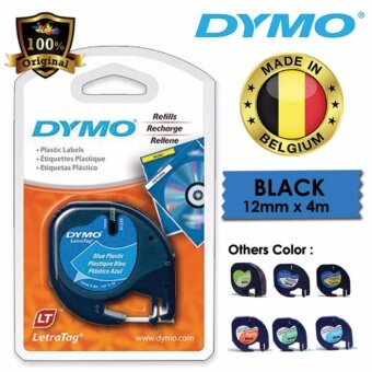 Dymo LetraTag Label Marker Tape Refill 12mm x 4m - Plastic Blue