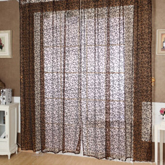 Floral Tulle Voile Door Window Curtain Coffee
