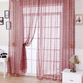 Floral Tulle Voile Door Window Curtain Wine Red