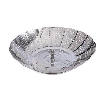 Folding Stainless Steel Mesh Holes Food Steamer Basket Cooker L