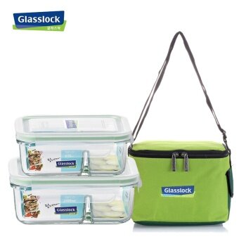 Glass lock heat-resistant compartment lunch box freshness box