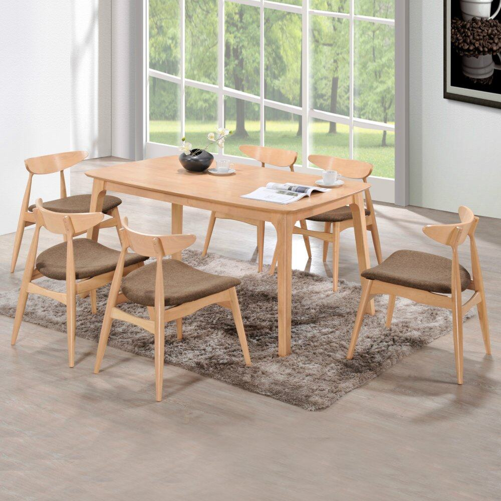 Rubberwood Kitchen Table Hk Hasse 7 Piece Scandinavian Style Rubberwood Dining Table And