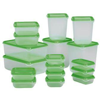 IKEA PRUTA Food Container Set of 17 (Green)