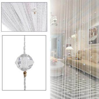 Ishowmall Tassel Curtain Crystal Beads String Curtain Window DoorDivider Sheer Curtains White