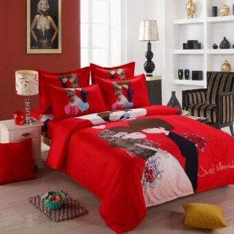 Just Married Cute Wedding Fitted 4 pcs Bedding Set with QuiltCover-Red