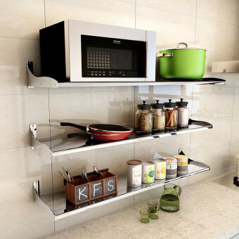 Kitchen Supplies shelving rack 304 does not rust steel plate wallstorage shelf microwave electric rice cooker kitchen shelf