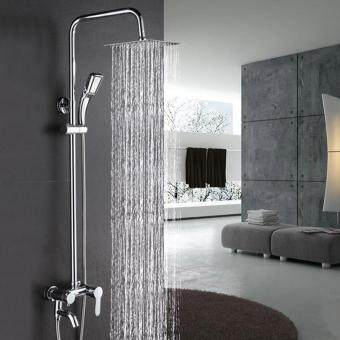 Lift And Down Tube Rainfall Pressurized Constant Temperature Thermostatic  Bathroom Bath Shower Set Chrome Mixer With Handheld Sprayer(Size1)