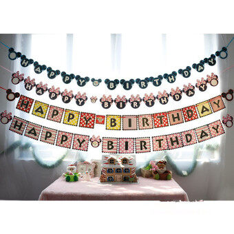 Lovely Birthday Party Decoration Set Birthday Mouse Theme BabyBirthday Party letter hanging garland