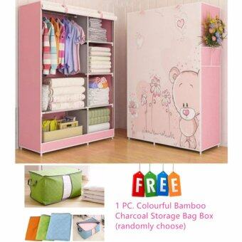 Modern One-Piece Roll Up Curtain Clothes Wardrobe PEACH BEAR + Free1 PC. Colourful Bamboo Charcoal Laundry Pillows Storage Bag Box(randomly choose)