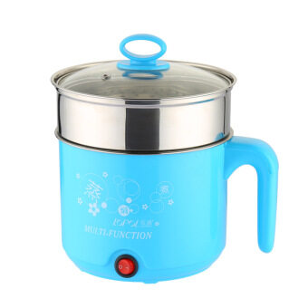 Multi-function Stainless Steel Electric Cooker, Electric Cooker, Electric Hot Pot- Blue with Staniless Steel Steamer