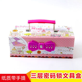 Multi-functional three layer password lock large capacity stationery box