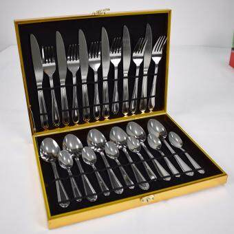 NaVa Exclusive Gold Plated Floral Gift Box 24 PCS Stainless Steel Cutlery Set