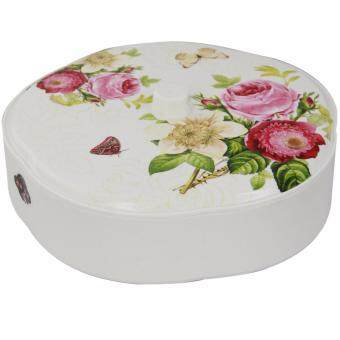 NaVa Festival Floral Multipurpose Cookie Box Platter Dry FruitContainer Storage (RED)