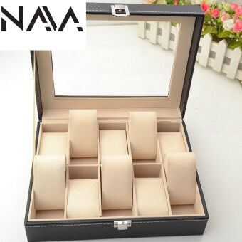 NaVa High Quality Fine PU Leather 10 Slot Watch Jewellery Storage Container Box