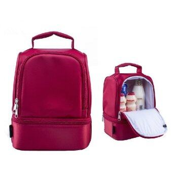 New Design Thick Warm Thermal Insulated Boxes Nylon Lunch Bag RedLunch Bags Tote with Zipper Cooler Lunch Box Insulation Bag