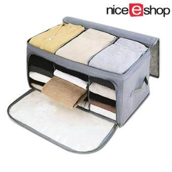 niceEshop Home Storage Bamboo Charcoal Fiber Clothing OrganizerBags Zipper Bag Case Container Organizers Container Box,Gray