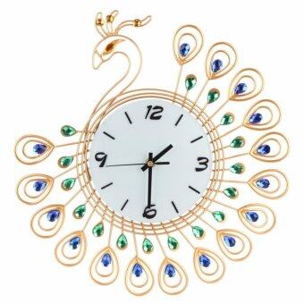 Peacock Appearance of Jade Glass Plate 35*35 CM Wall Clock Home Decor S(Gold)