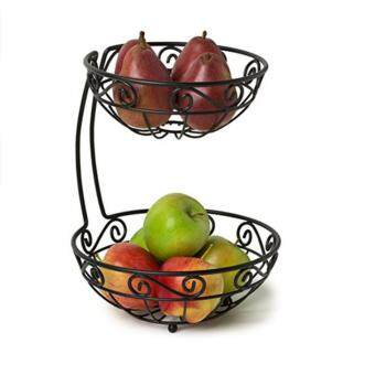 Scroll Fruit Stand, Tiered Server, Fruit Baskets, 2 Tier, BlackFruit Stand