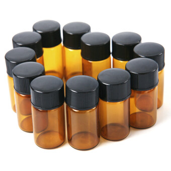 Set of 12 Pcs 2mL Amber Glass Essential Oil Glass Bottle StorageContainer