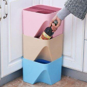 Set of 3 Colorful Stackable Waste Basket-Small (Random Color)