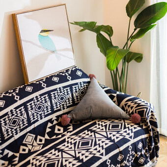 Simple black and white cover cloth geometric rug sofa cover