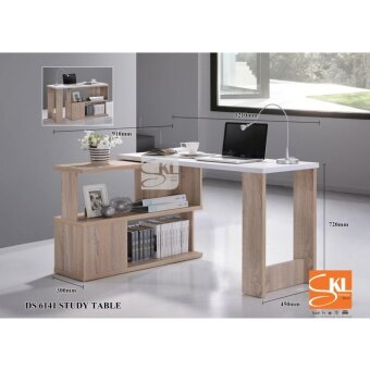 SKL6141 2in1 STUDY TABLE/ COMPUTER TABLE WITH ADJUSTABLE BOOK SHELF (Natural Oak)