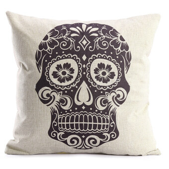 Skull Design Square Throw Pillow Case Sofa Cushion Cover without Pillow Core for Halloween ...