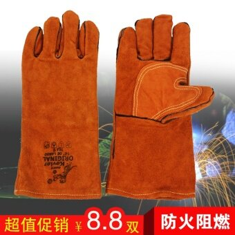 Special long section of welding gloves yellow double welder glovesprotective gloves insulation wear and fire line