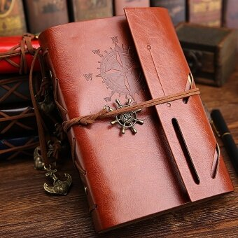 Spiral Notebook Diary Notepad Vintage Anchors PU Leather Note BookReplaceable Stationery Gift Traveler Journal