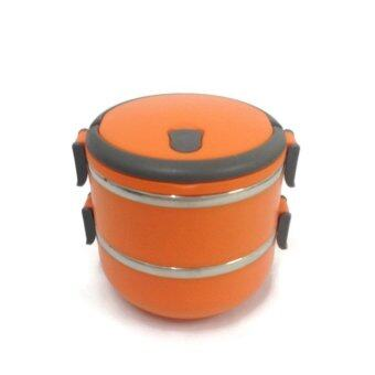 Stainless Steel Thermal lnsulation Lunch Box 2 Layers (Orange)
