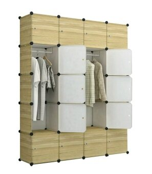 Tupper Cabinet 20 Cubes DIY Wardrobe Brwon Wood Design