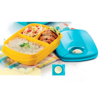 Tupperware Microwaveable Divided Lunch Box (FREE SHIPPING)1L Tiffany Cover with Yellow Body Lunch Box - NUMIT