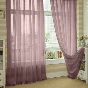 Valances Colors Floral Tulle Voile Door Window Curtain Dark Coffee
