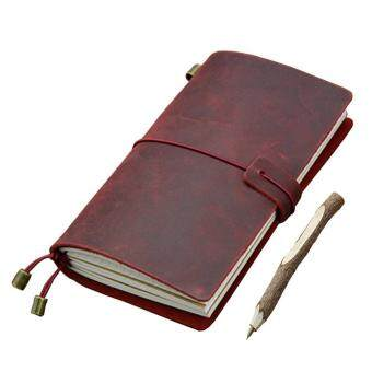 Vintage Leather Traveler Notebook Refillable Reusable Journals Diary Notepad Cover with 3 Paper Inserts, Red