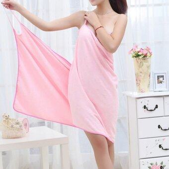 YBC Female Wearable Fast Drying Microfiber Bath Towel Beach SpaBathrobes Pink
